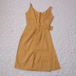 Vtg 60s S / XS Mustard Sleeveless Day Dress Wiggle